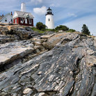 Picture - Rock and Pemaquid Point Lighthouse.
