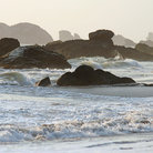 Picture - Waves crashing on the rocks at Harris Beach State Park in Brookings.