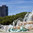 Picture - Partial view of the Buckingham Fountain in Grant Park, Chicago.