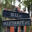 Picture - A sign at the Bull Street intersection in Savannah.