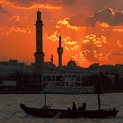 Picture - Tower of the Grand Mosque in the sunset, Bur Dubai.