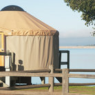 Picture - A camping tent and Cachuma Lake Recreation Area.