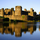 Picture - Caerphilly Castle reflected in the water.