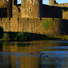 Picture - Tower and walls of the Caerphilly Castle.