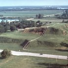 Picture - Aerial view of Cahokia Mounds State Historical Site.