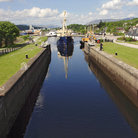 Picture - Ship in the lock of the Caladonian Canal.