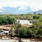Picture - Distant view of waterfalls, Salto Yuruan , on La Gran Sabana in Parque Nacional Canaima (Canaima National Park).