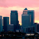 Picture - Canary Wharf at sunset.