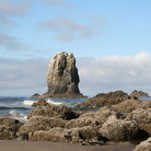 Picture - Rocks on shore of Cannon Beach, Oregon.