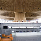 Picture - Interior of the Welsh Assembly Building lobby in Cardiff Bay.