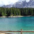 Picture - Mountains behind Carezza Lake.