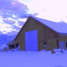 Picture - Snow covered barn in the Carson Valley.