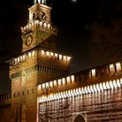 Picture - The Castello Sforzesco at night in Milan.