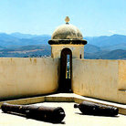 Picture - Restored fort of Castillo de San Antonio de la Eminencia in Cumana, with coastal mountains in background.