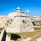 Picture - View aong the outside wall of the Castillo de San Pedro del Morro in Santiago de Cuba.