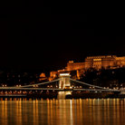 Picture - Night panorama of the Buda Castle and Szechenyi Chain Bridge in Budapest.