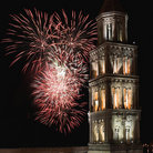 Picture - Fireworks over the Saint Domnius Cathedral tower in Split.