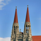 Picture - Spires of Catholic Cathedral in Helena, Montana.