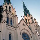 Picture - Towers and rose window of the Cathedral of St John the Baptist in Savannah.