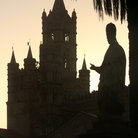 Picture - Silhouette of the cathedral tower in Palermo.
