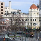 Picture - Cathedral square and trolly in Christchurch.