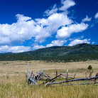 Picture - Pasture with mountains near Chama, New Mexico.