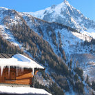 Picture - Snow covered chalet at Chamonix.