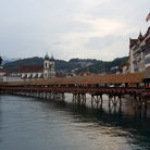 Picture - The Chapel Bridge in Lucerne being reconstructed after a fire.