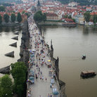 Picture - Aerial view over the Charles Bridge in Prague.