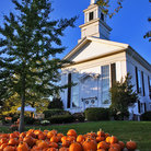 Picture - Pumpkins in front of a church in Chatham.