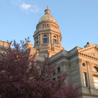 Picture - Sunset on the Wyoming State Capitol building in Cheyenne.
