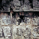 Picture - Skulls carved into the Ball Court at Chichen Itza to inspire players to do their best.