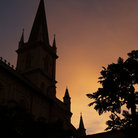 Picture - Sunset over Chijmes in Singapore.