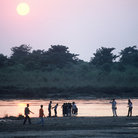 Picture - Sunset over the river at Chitwan National Park.