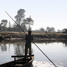 Picture - Boat crossing a river in Chitwan National Park.
