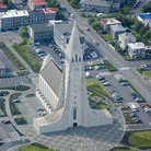 Picture - Aerial view of the Hallgrimskirkja Church in Reykjavik.