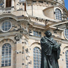 Picture - Martin Luther in front of the Church of Our Lady.