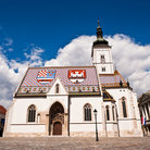 Picture - The Church of St Mark with ornately tiled roof in Zagreb.