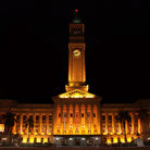 Picture - Brisbane city hall at night.