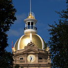 Picture - Gold dome and clock of the Savannah City Hall.