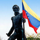 Picture - Statue of Simon Bolivar (Simon Bolivar) carrying flag in Ciudad Bolivar.