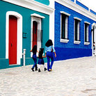 Picture - Colorful buildings line streets near Plaza Bolivar in Ciudad Bolivar.