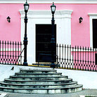 Picture - View from Plaza Bolivar of colorful building in Colonial Quarter of Ciudad Bolivar.