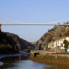 Picture - Looking up at the Clifton Suspension Bridge.