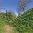 Picture - Dry moat at Clun Castle.