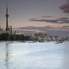 Picture - Toronto's famous skyline from the Harbourfront including the CN Tower.