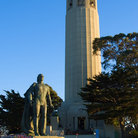 Picture - Coit Tower and a statue of Christopher Columbus, San Francisco. .