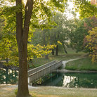 Picture - Pond and Bridge in Woodman Park, Collinsville, IL.