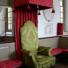Picture - Seat in a church in Colonial Williamsburg.