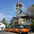 Picture - Orange trolley train in Key West.